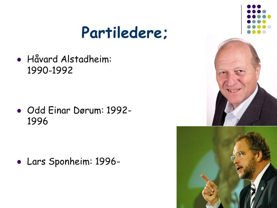 Partiledere; Håvard Alstadheim: 1990-1992 Odd Einar Dørum: 1992- 1996 Lars Sponheim: 1996-