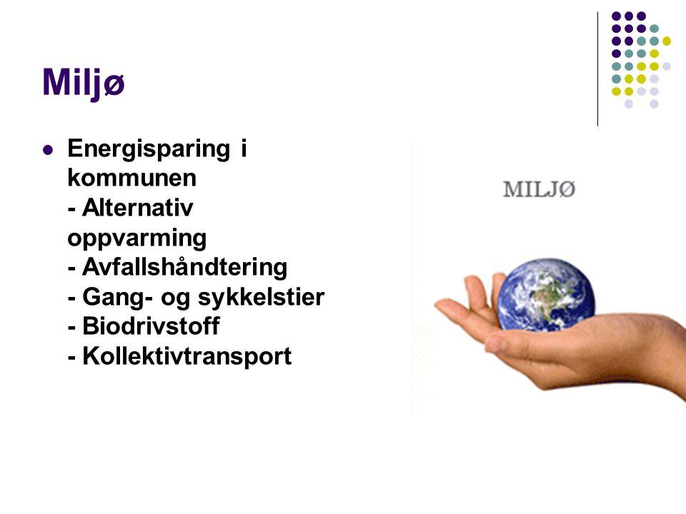 Miljø Energisparing i kommunen - Alternativ oppvarming - Avfallshåndtering - Gang- og sykkelstier - Biodrivstoff - Kollektivtransport