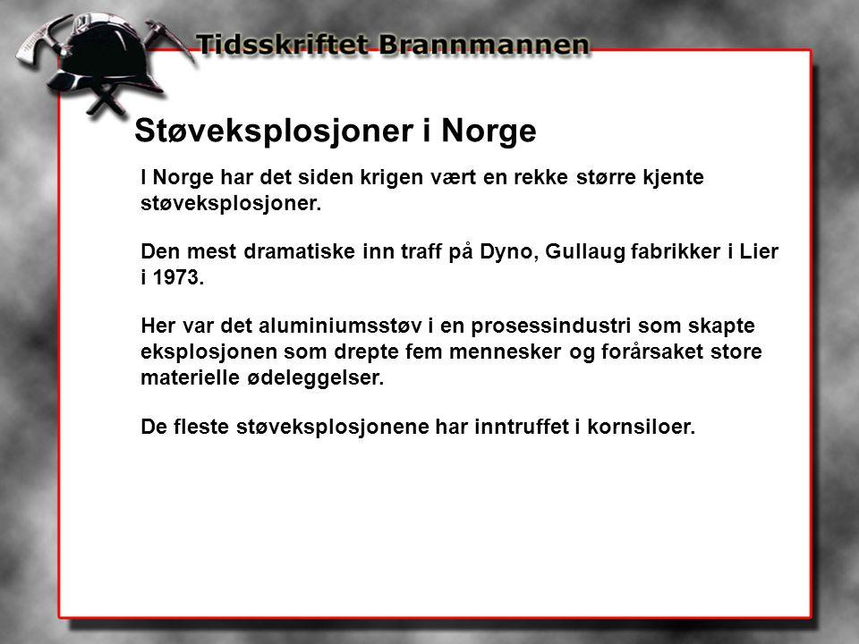Støveksplosjoner i Norge I Norge har det siden krigen vært en rekke større kjente støveksplosjoner. Den mest dramatiske inn traff på Dyno, Gullaug fab