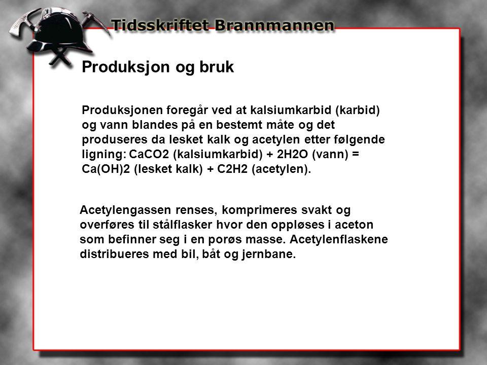 Produksjon og bruk Produksjonen foregår ved at kalsiumkarbid (karbid) og vann blandes på en bestemt måte og det produseres da lesket kalk og acetylen