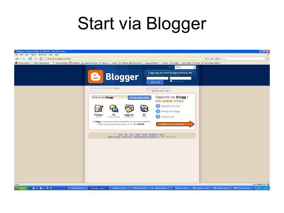 Endre utforming av bloggside Velg 'Mal' Du kan endre noe på plasseringen av de ulike elementene på siden Du har også mulighet til å endre informasjonen i din profil og endre navn på bloggen.