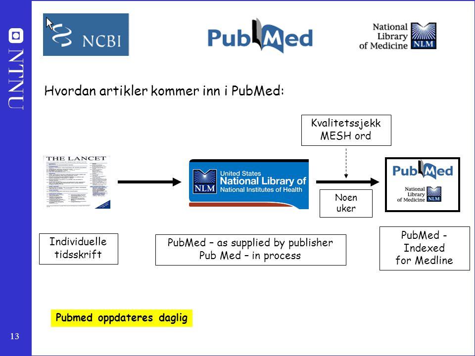 13 Hvordan artikler kommer inn i PubMed: PubMed - Indexed for Medline PubMed – as supplied by publisher Pub Med – in process Individuelle tidsskrift K