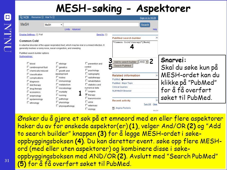 31 MESH-søking - Aspektorer Ønsker du å gjøre et søk på et emneord med en eller flere aspektorer haker du av for ønskede aspektor(er) (1), velger And/