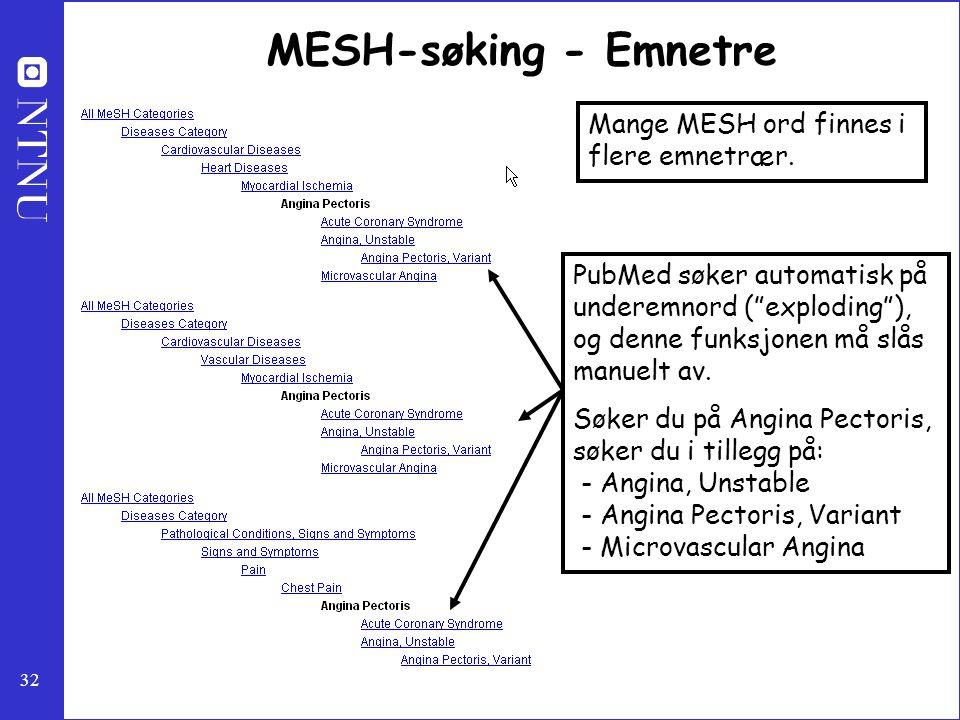 """32 MESH-søking - Emnetre PubMed søker automatisk på underemnord (""""exploding""""), og denne funksjonen må slås manuelt av. Søker du på Angina Pectoris, sø"""