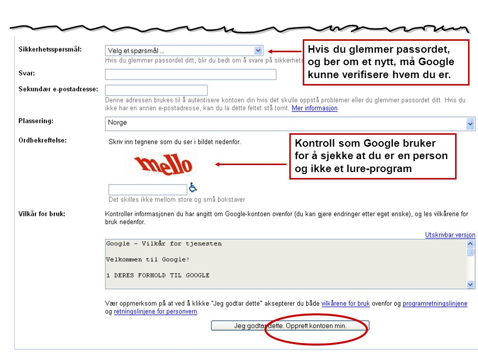 Hvis du glemmer passordet, og ber om et nytt, må Google kunne verifisere hvem du er.
