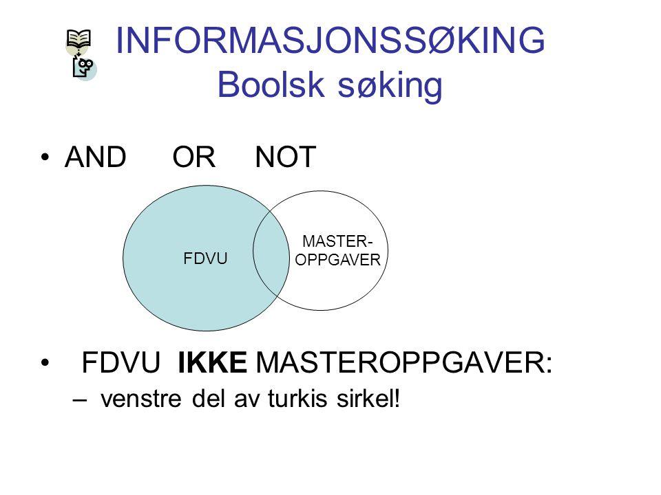 INFORMASJONSSØKING Boolsk søking AND OR NOT FDVU IKKE MASTEROPPGAVER: – venstre del av turkis sirkel! FDVU MASTER- OPPGAVER