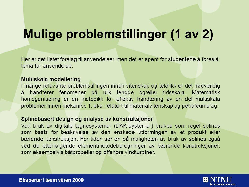 Eksperter i team våren 2009 Mulige problemstillinger (1 av 2) Her er det listet forslag til anvendelser, men det er åpent for studentene å foreslå tema for anvendelse.