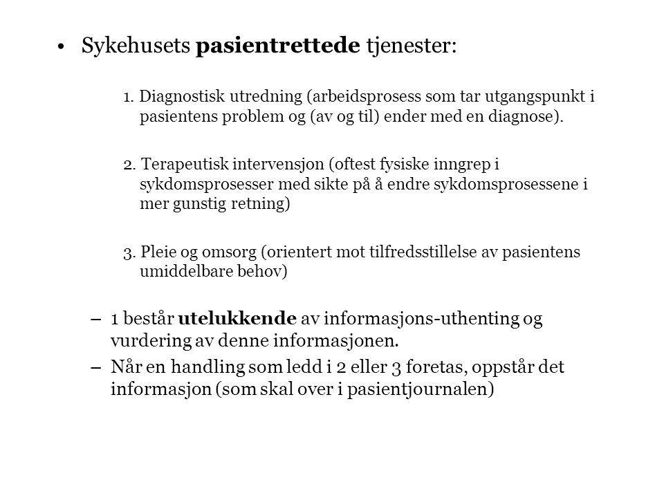 Sykehusets pasientrettede tjenester: 1.