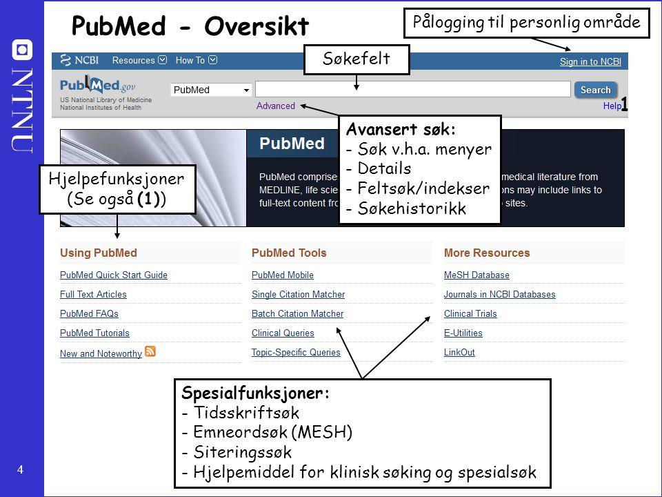 4 PubMed - Oversikt Søkefelt Pålogging til personlig område Hjelpefunksjoner (Se også (1)) Spesialfunksjoner: - Tidsskriftsøk - Emneordsøk (MESH) - Si