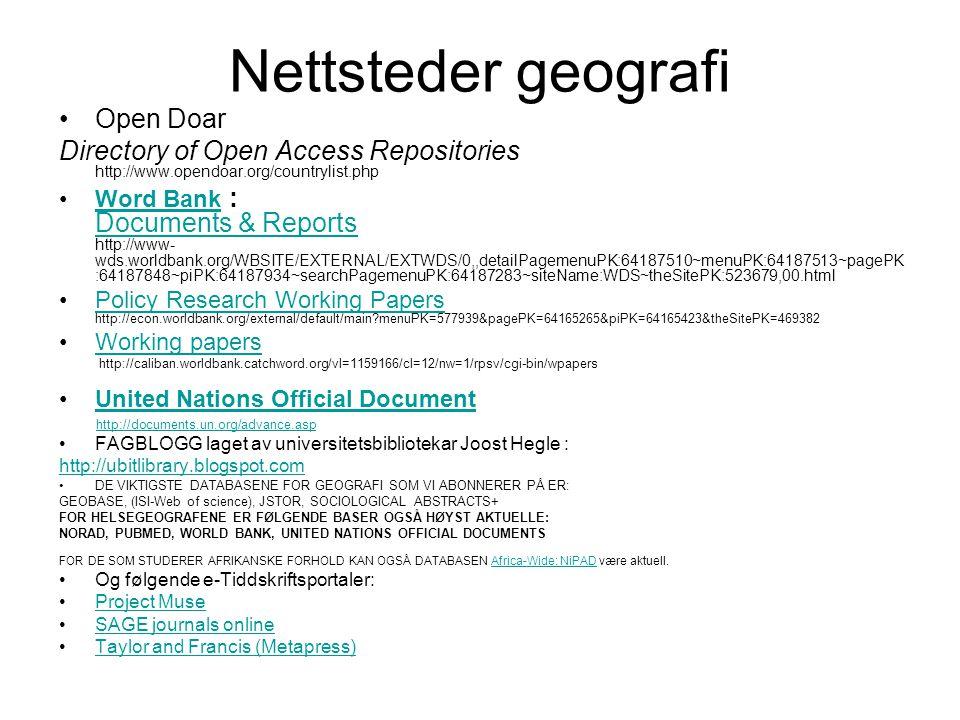 Nettsteder sosialantropologi Antropologi.info Engaging with the world-Thomas Hylland Eriksen's hjemmeside http://folk.uio.no/geirthe/ Open Doar Directory of Open Access Repositories http://www.opendoar.org/countrylist.php FAGBLOGG laget av universitetsbibliotekar Joost Hegle: http://ubitlibrary.blogspot.com Savage Minds notes and queries in anthropology http://savageminds.org/ DE VIKTIGSTE DATABASENE FOR SOSIALANTROPOLOGI SOM VI ABONNERER PÅ ER: (ISI-Web of science) JSTOR, SOCIOLOGICAL ABSTRACTS FOR DE SOM STUDERER AFRIKANSKE FORHOLD KAN OGSÅ DATABASEN Africa-Wide: NiPAD være aktuell.Africa-Wide: NiPAD For de som beskjeftiger seg med medisinsk antropologi er Pubmed en aktuell database.