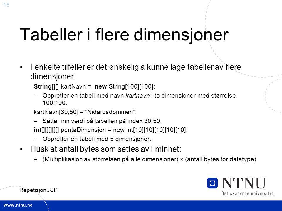 18 Repetisjon JSP Tabeller i flere dimensjoner I enkelte tilfeller er det ønskelig å kunne lage tabeller av flere dimensjoner: String[][] kartNavn = new String[100][100]; –Oppretter en tabell med navn kartnavn i to dimensjoner med størrelse 100,100.