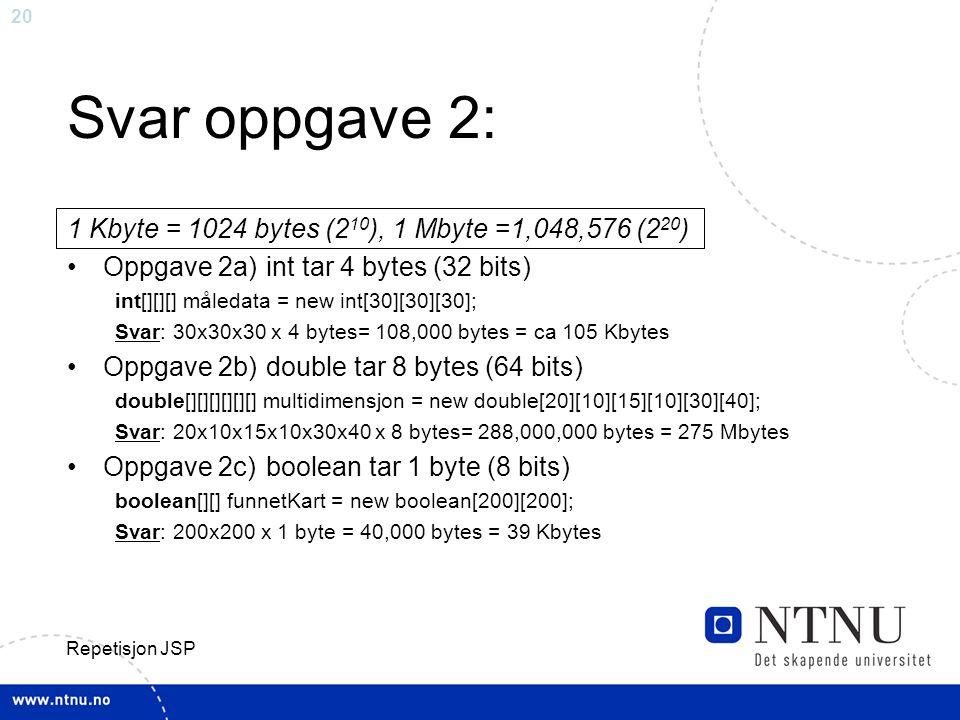 20 Repetisjon JSP Svar oppgave 2: 1 Kbyte = 1024 bytes (2 10 ), 1 Mbyte =1,048,576 (2 20 ) Oppgave 2a) int tar 4 bytes (32 bits) int[][][] måledata = new int[30][30][30]; Svar: 30x30x30 x 4 bytes= 108,000 bytes = ca 105 Kbytes Oppgave 2b) double tar 8 bytes (64 bits) double[][][][][][] multidimensjon = new double[20][10][15][10][30][40]; Svar: 20x10x15x10x30x40 x 8 bytes= 288,000,000 bytes = 275 Mbytes Oppgave 2c) boolean tar 1 byte (8 bits) boolean[][] funnetKart = new boolean[200][200]; Svar: 200x200 x 1 byte = 40,000 bytes = 39 Kbytes