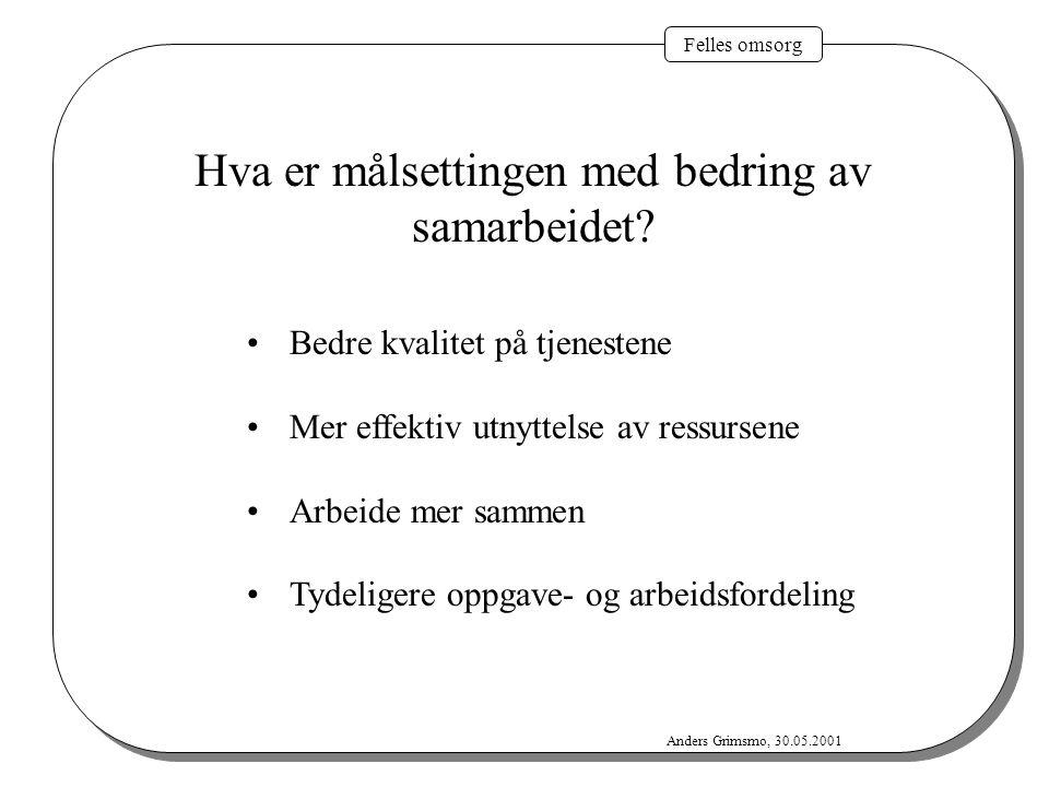 Felles omsorg Anders Grimsmo, 30.05.2001 Hva er målsettingen med bedring av samarbeidet? Bedre kvalitet på tjenestene Mer effektiv utnyttelse av ressu