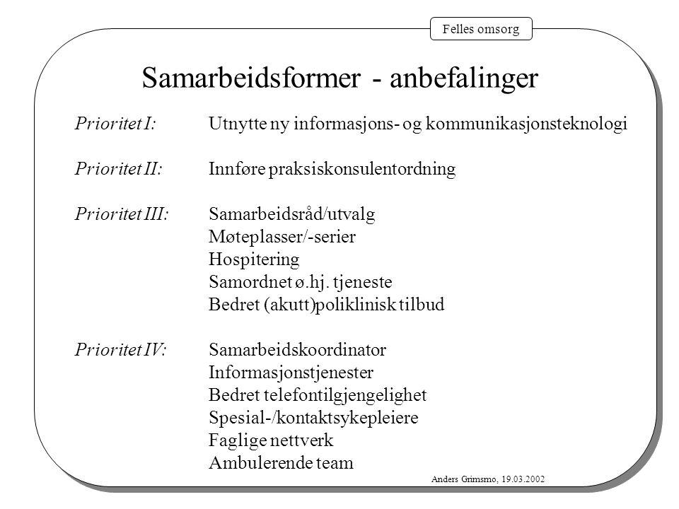 Felles omsorg Anders Grimsmo, 19.03.2002 Samarbeidsformer - anbefalinger Prioritet I:Utnytte ny informasjons- og kommunikasjonsteknologi Prioritet II: