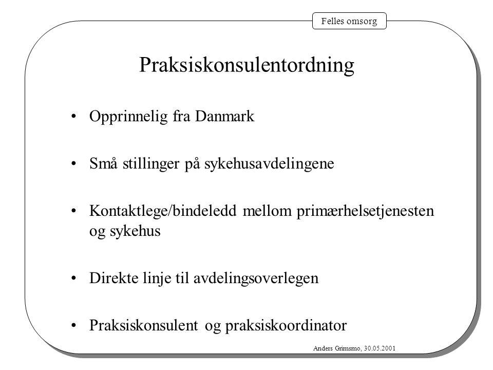 Felles omsorg Anders Grimsmo, 30.05.2001 Praksiskonsulentordning Opprinnelig fra Danmark Små stillinger på sykehusavdelingene Kontaktlege/bindeledd me