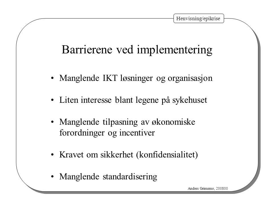 Henvisning/epikrise Anders Grimsmo, 200800 Manglende IKT løsninger og organisasjon Liten interesse blant legene på sykehuset Manglende tilpasning av ø