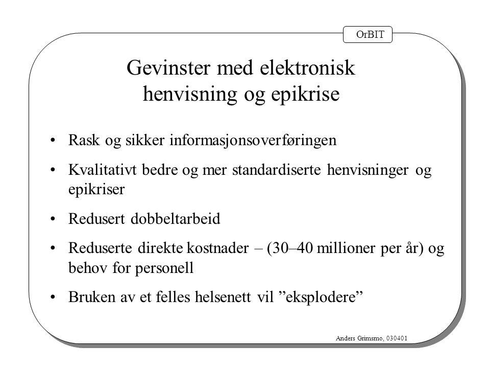 OrBIT Anders Grimsmo, 030401 Gevinster med elektronisk henvisning og epikrise Rask og sikker informasjonsoverføringen Kvalitativt bedre og mer standar