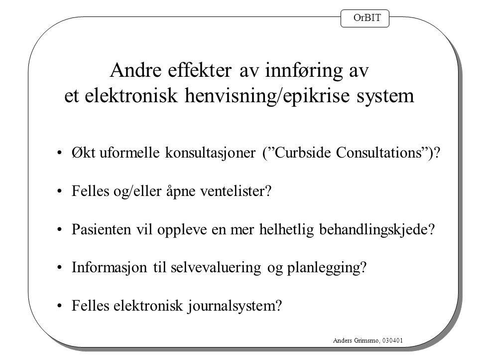 """OrBIT Anders Grimsmo, 030401 Andre effekter av innføring av et elektronisk henvisning/epikrise system Økt uformelle konsultasjoner (""""Curbside Consulta"""