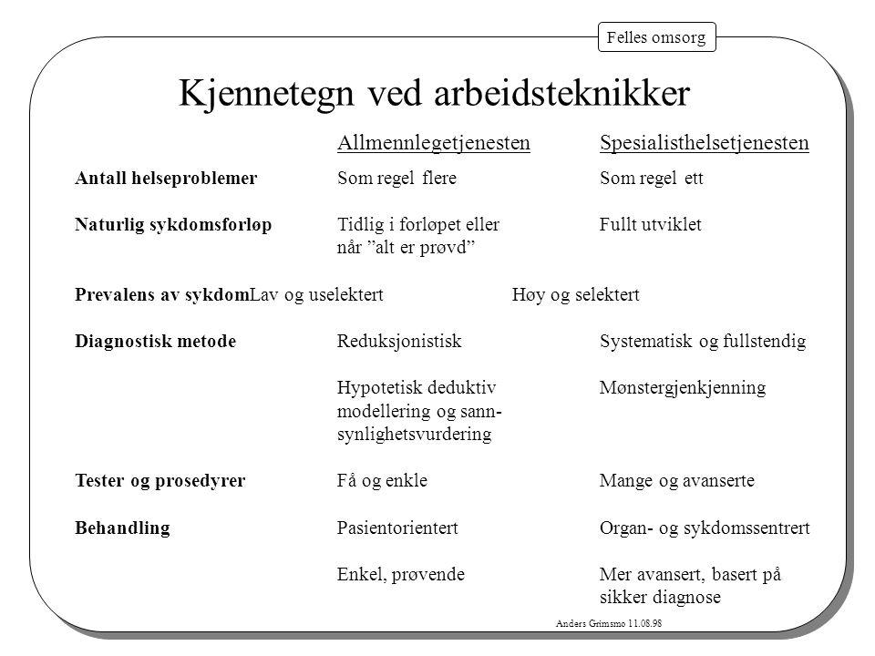 Felles omsorg Anders Grimsmo, 30.05.2001 Hva er målsettingen med bedring av samarbeidet.