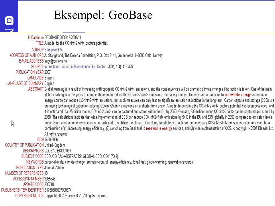 13 Roar.storleer@ub.ntnu.no Eksempel: GeoBase