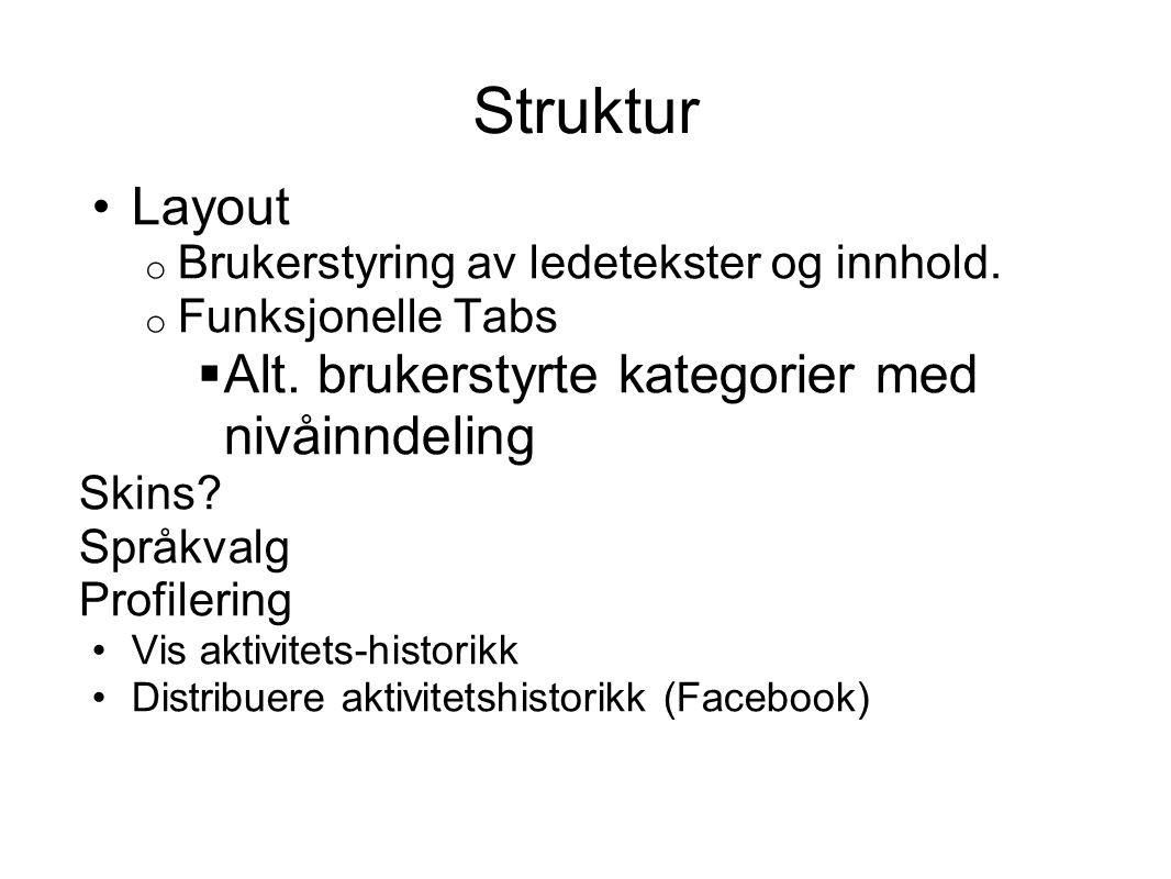 Struktur Layout o Brukerstyring av ledetekster og innhold.