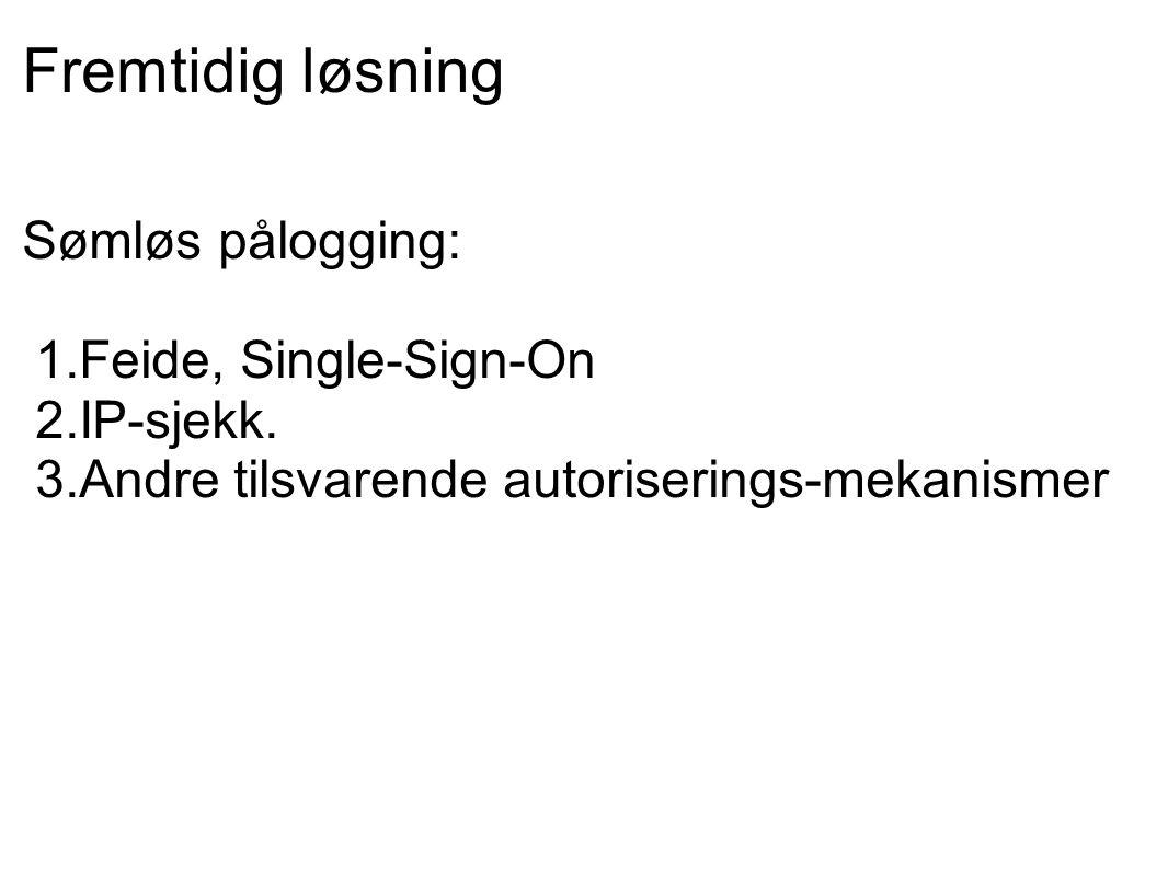 Fremtidig løsning Sømløs pålogging: 1.Feide, Single-Sign-On 2.IP-sjekk.