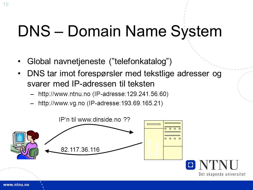 """10 Navne tjener IP'n til www.dinside.no ?? 82.117.36.116 DNS – Domain Name System Global navnetjeneste (""""telefonkatalog"""") DNS tar imot forespørsler me"""