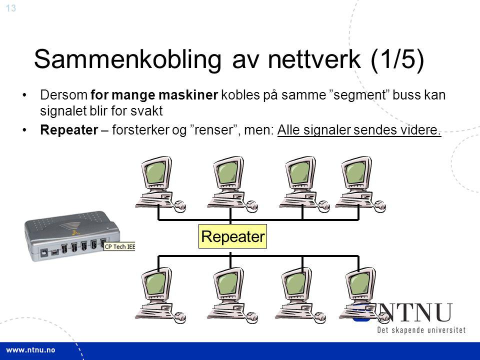 """13 Sammenkobling av nettverk (1/5) Dersom for mange maskiner kobles på samme """"segment"""" buss kan signalet blir for svakt Repeater – forsterker og """"rens"""