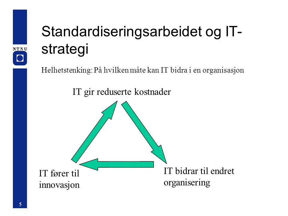 Standardiseringsarbeidet og IT- strategi Helhetstenking: På hvilken måte kan IT bidra i en organisasjon 5 IT fører til innovasjon IT bidrar til endret organisering IT gir reduserte kostnader