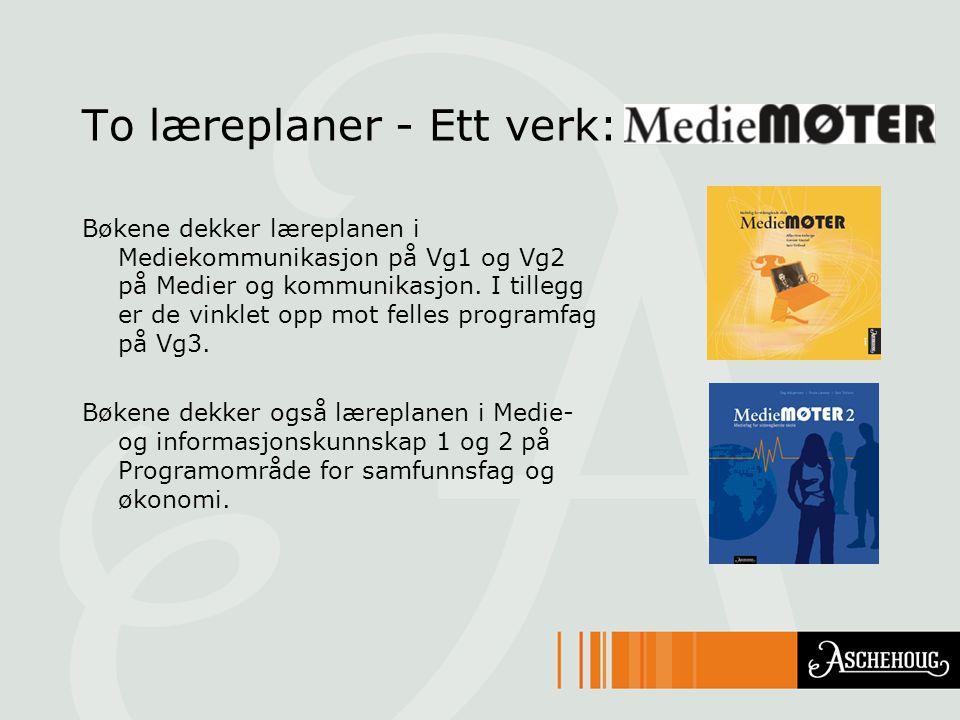 Bøkene dekker læreplanen i Mediekommunikasjon på Vg1 og Vg2 på Medier og kommunikasjon. I tillegg er de vinklet opp mot felles programfag på Vg3. Bøke