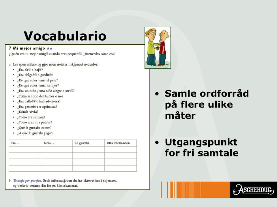 Vocabulario Samle ordforråd på flere ulike måter Utgangspunkt for fri samtale