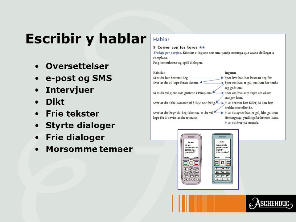 Escribir y hablar Oversettelser e-post og SMS Intervjuer Dikt Frie tekster Styrte dialoger Frie dialoger Morsomme temaer