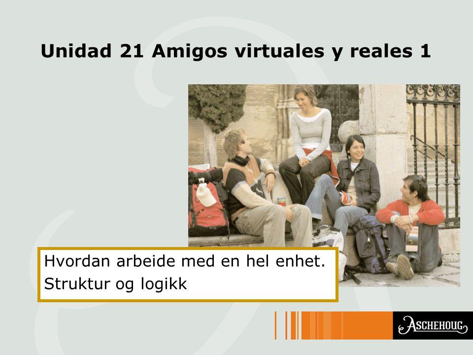 Unidad 21 Amigos virtuales y reales 1 Hvordan arbeide med en hel enhet. Struktur og logikk
