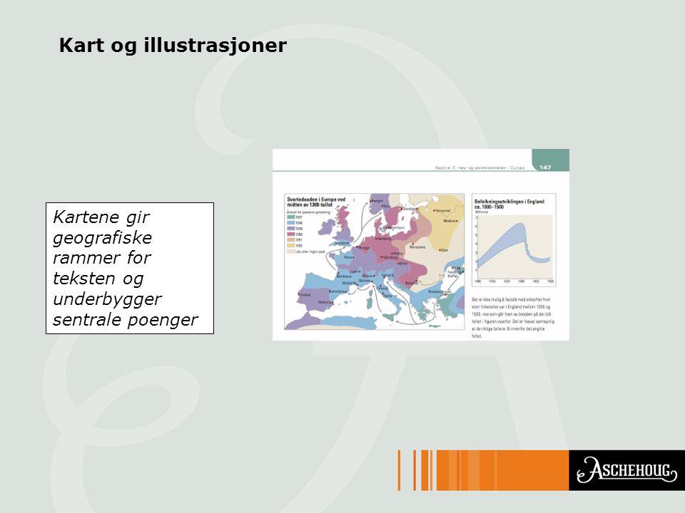 Kart og illustrasjoner Kartene gir geografiske rammer for teksten og underbygger sentrale poenger