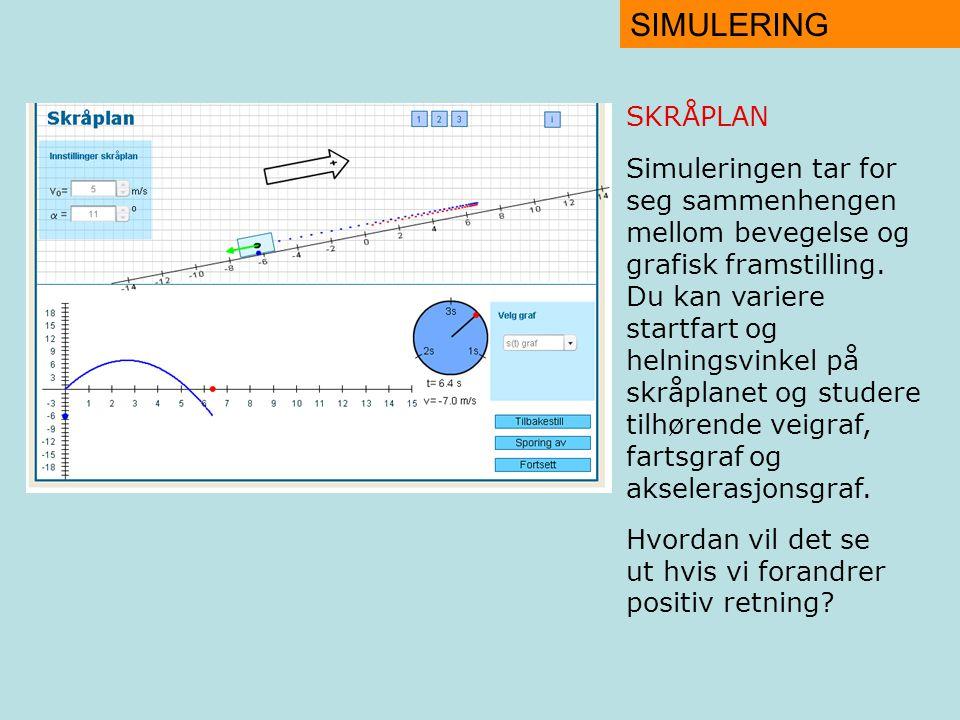 SIMULERING SKRÅPLAN Simuleringen tar for seg sammenhengen mellom bevegelse og grafisk framstilling.