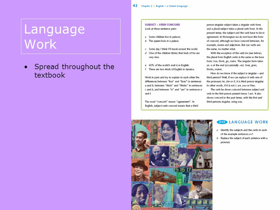 Language Work Spread throughout the textbook