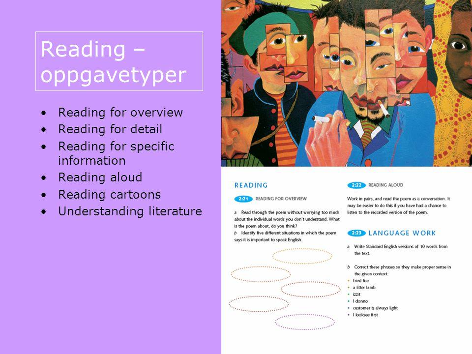 Listening and Watching – oppgavetyper Listening for detail Listening for specific information Understanding a film
