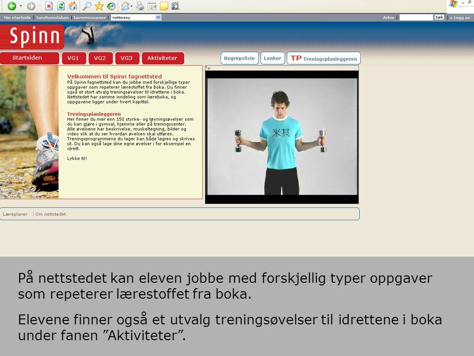 På nettstedet kan eleven jobbe med forskjellig typer oppgaver som repeterer lærestoffet fra boka.