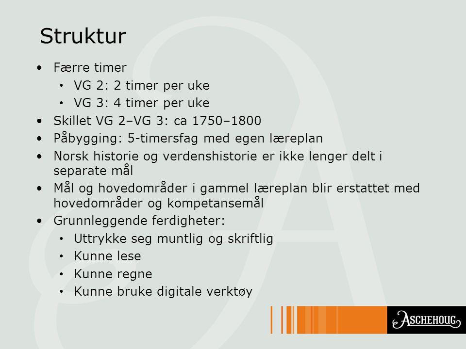 Struktur Færre timer VG 2: 2 timer per uke VG 3: 4 timer per uke Skillet VG 2–VG 3: ca 1750–1800 Påbygging: 5-timersfag med egen læreplan Norsk histor