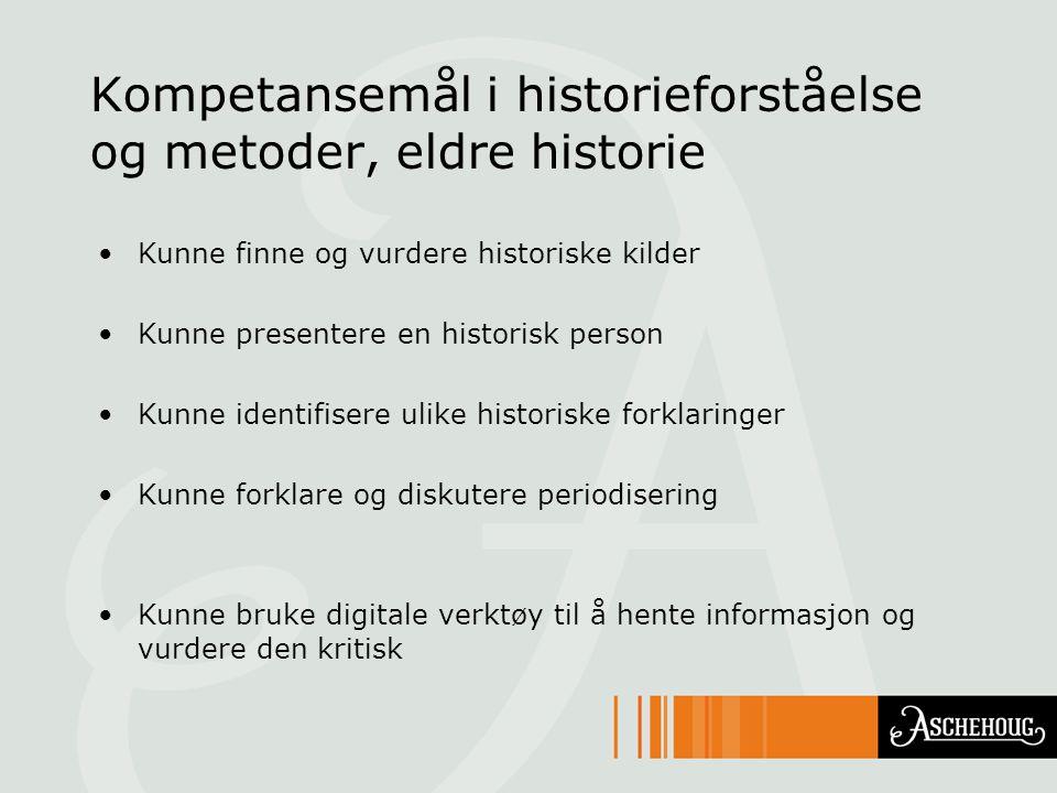 Kompetansemål i historieforståelse og metoder, eldre historie Kunne finne og vurdere historiske kilder Kunne presentere en historisk person Kunne iden