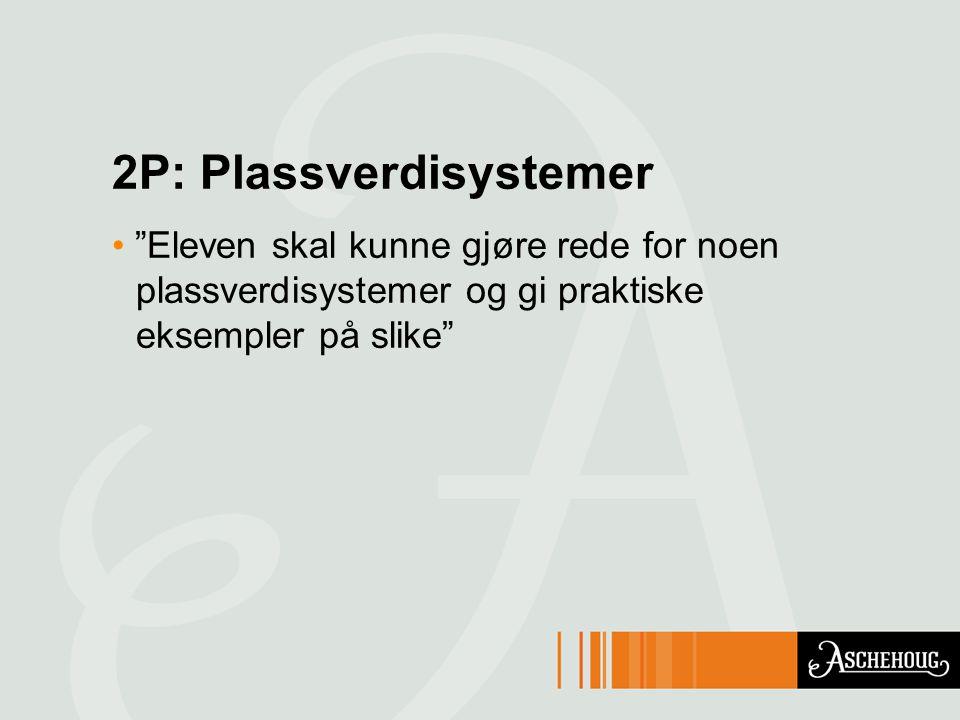 2P: Plassverdisystemer Eleven skal kunne gjøre rede for noen plassverdisystemer og gi praktiske eksempler på slike