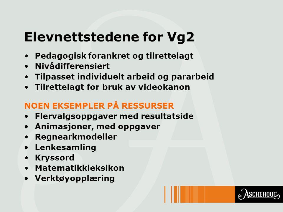 Elevnettstedene for Vg2 Pedagogisk forankret og tilrettelagt Nivådifferensiert Tilpasset individuelt arbeid og pararbeid Tilrettelagt for bruk av vide