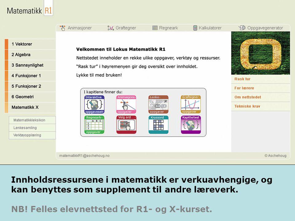 Fra R1 Matematikk- nettstedene tilbyr ressurser som er ment å skulle brukes gjentatte ganger.