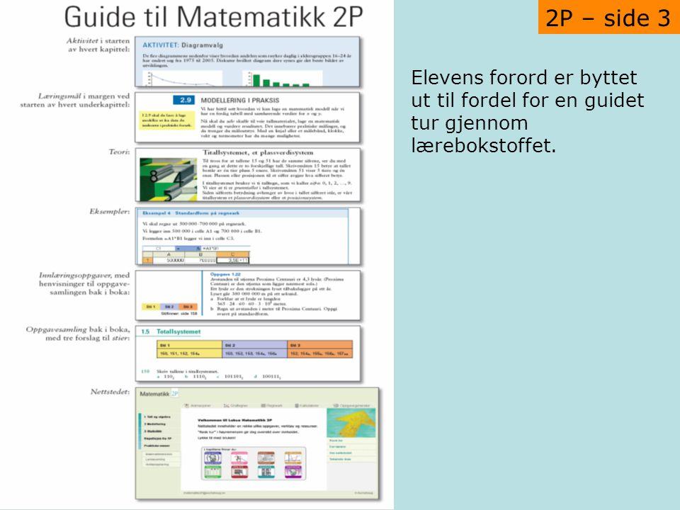 2P – side 3 Elevens forord er byttet ut til fordel for en guidet tur gjennom lærebokstoffet.