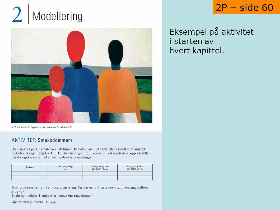 2P – side 60 Eksempel på aktivitet i starten av hvert kapittel.