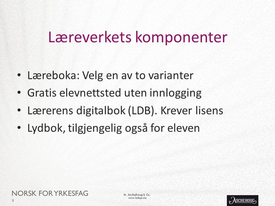 Læreverkets komponenter Læreboka: Velg en av to varianter Gratis elevnettsted uten innlogging Lærerens digitalbok (LDB). Krever lisens Lydbok, tilgjen