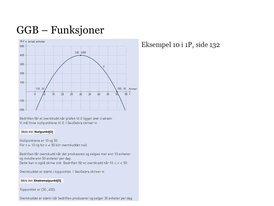 GGB – Funksjoner Eksempel 10 i 1P, side 132