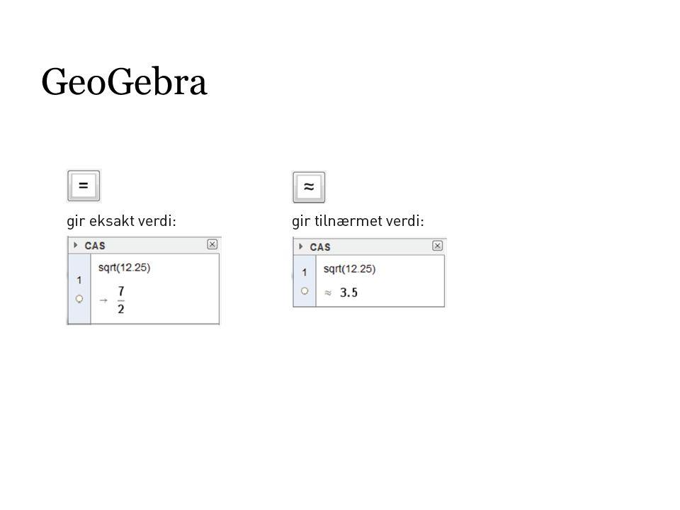 Microsoft Mathematics (http://www.microsoft.com/nb-no/download/details.aspx?id=15702) Alternativt til tastaturet: sqrt(12.25) Eksakt verdi og tilnærmet verdi i samme tastetrykk.