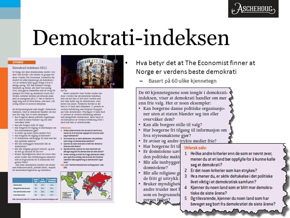 Demokrati-indeksen Hva betyr det at The Economist finner at Norge er verdens beste demokrati – Basert på 60 ulike kjennetegn