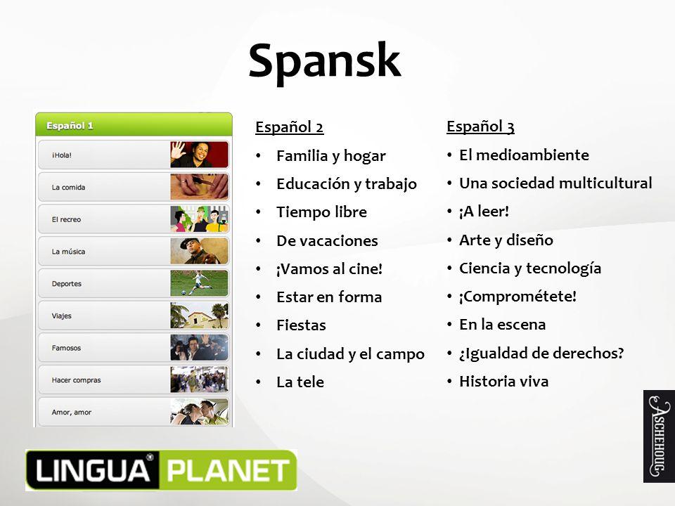 Spansk Español 2 Familia y hogar Educación y trabajo Tiempo libre De vacaciones ¡Vamos al cine.